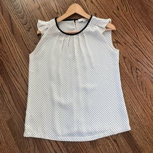 LOFT Gray and White Polka Dot Ruffle Sleeve Blouse